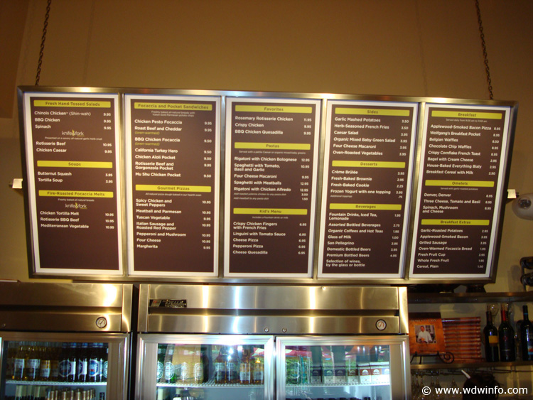 Wolfgang Puck Express menu