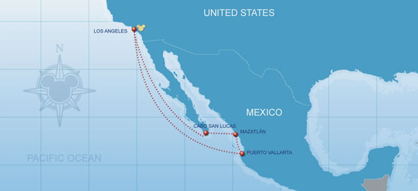7-Night Mexican Riviera Disney Cruise map