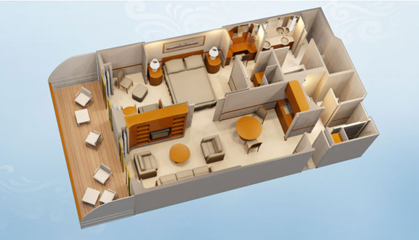 Concierge 1 Bedroom Suite with Verandah. Disney Cruise Line Staterooms   1 and 2 Bedroom Concierge Suites