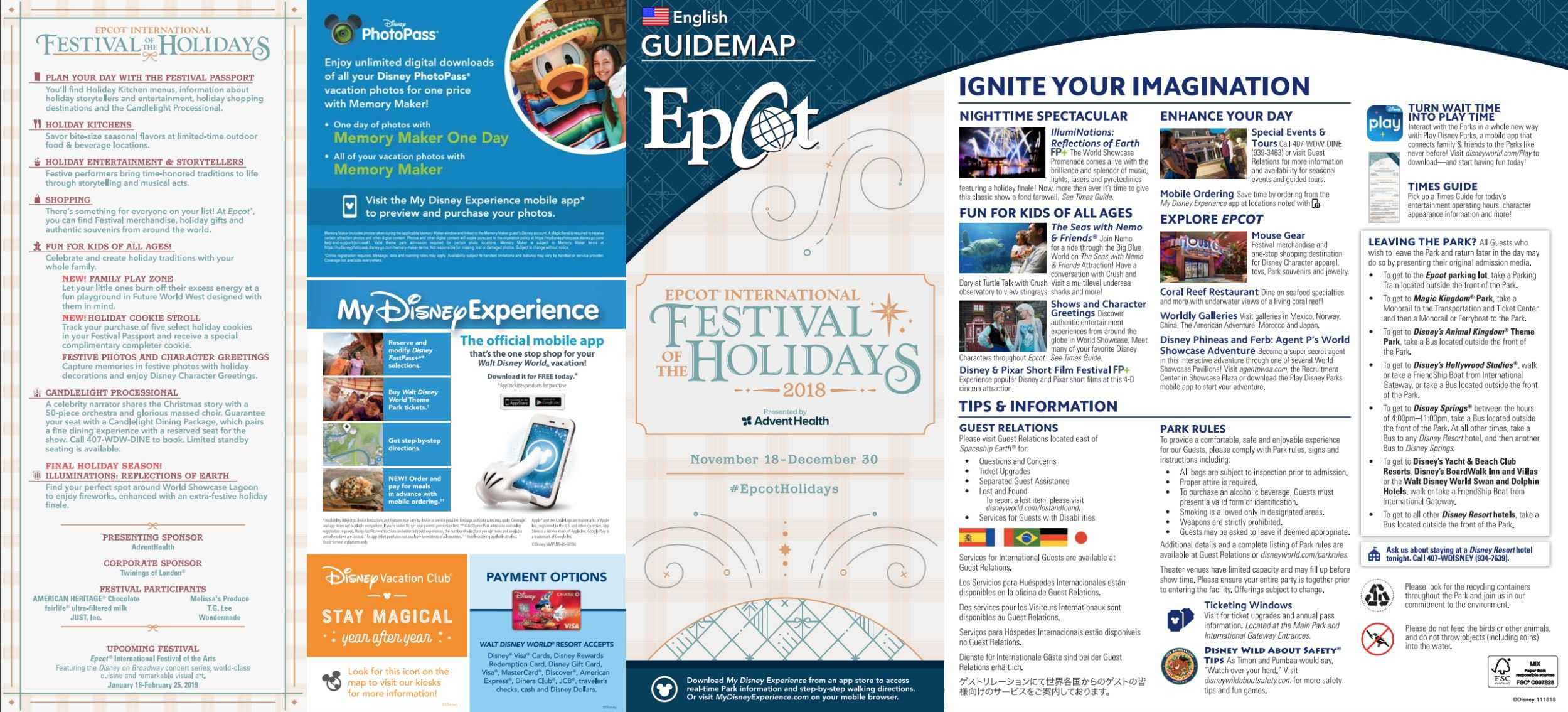 Epcot International Festival Of The Holidays Map 2018 At Walt Disney