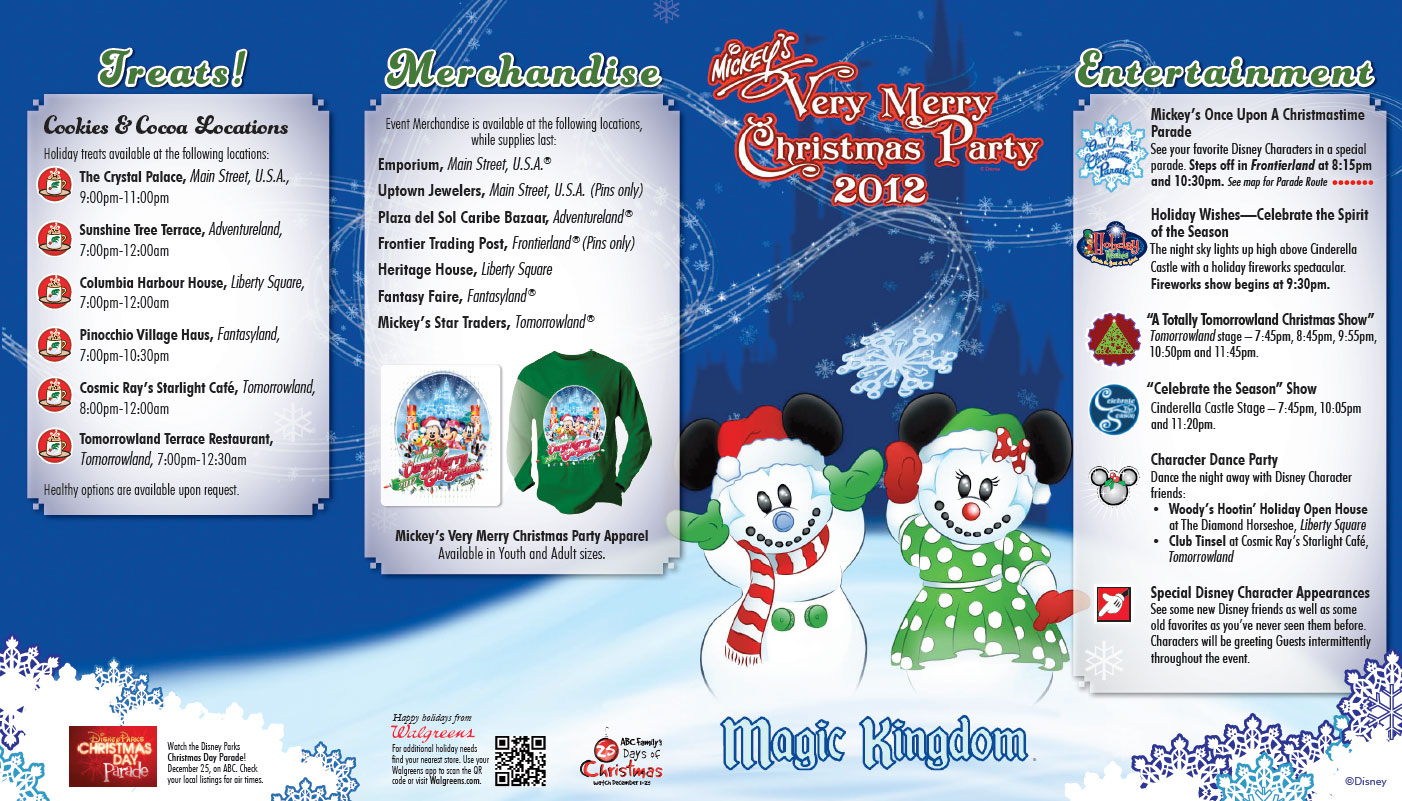 Mickey's Very Merry Christmas Party Map 2012