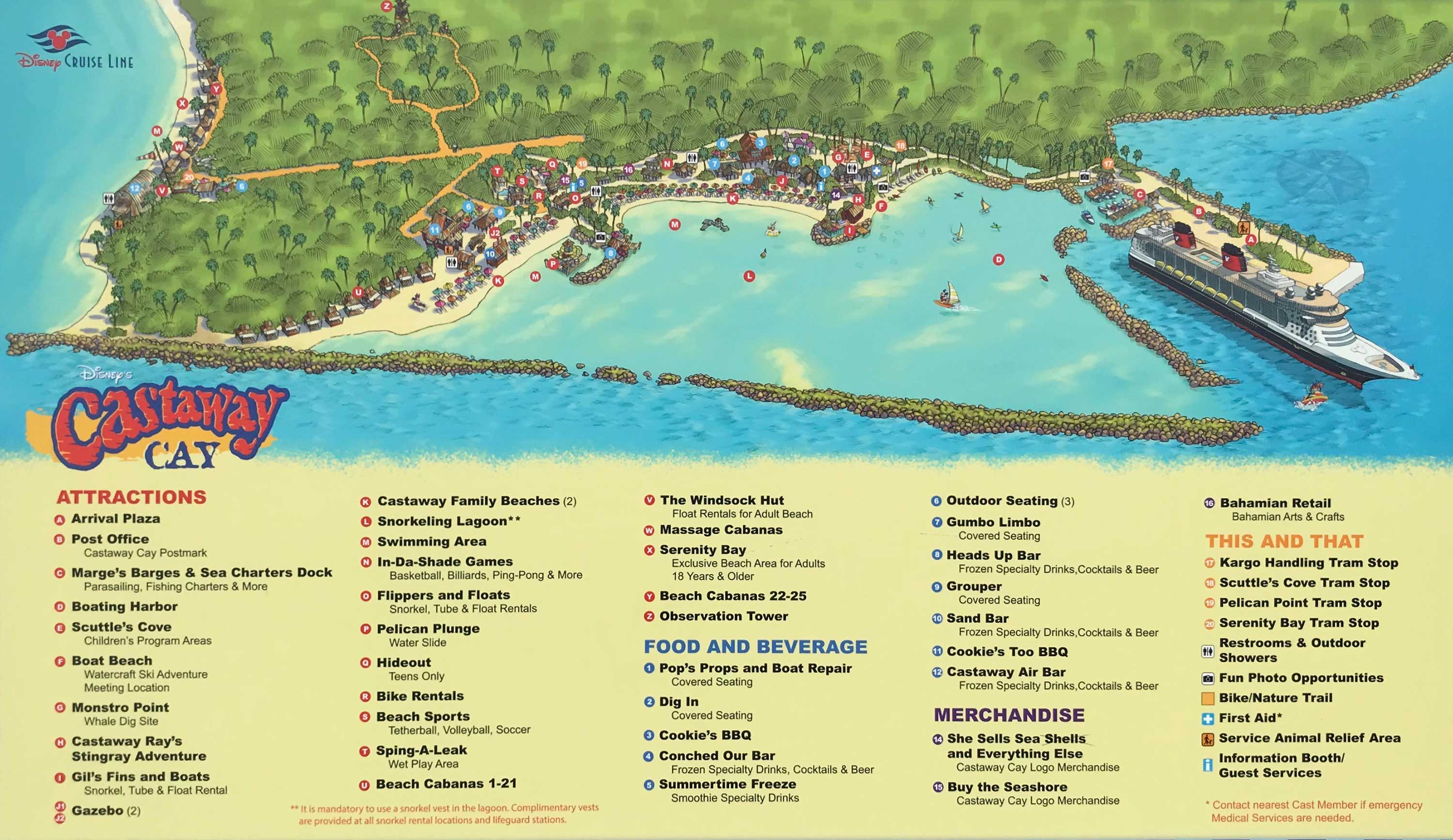 Disney Cruise Line Castaway Cay Map