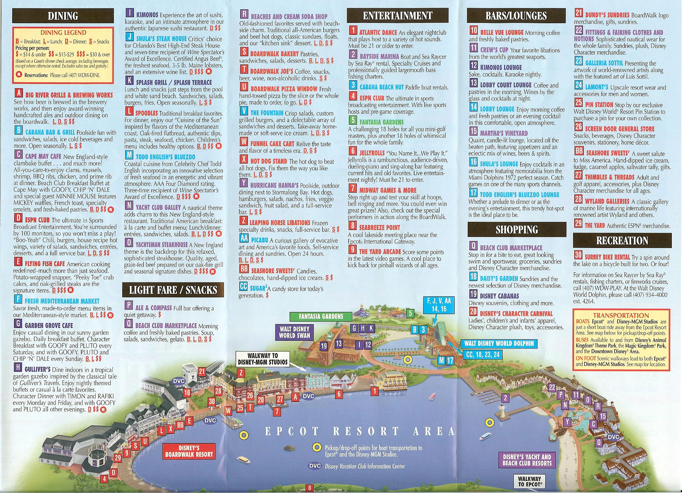epcot resort area map  wdwinfocom -