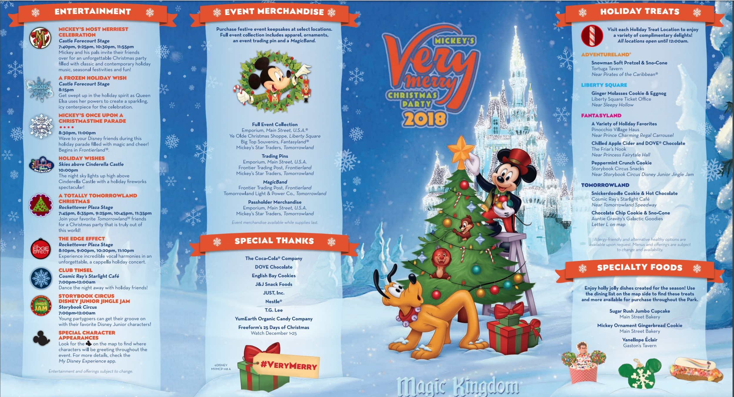 Mickey\'s Very Merry Christmas Party Map 2018 - Walt Disney World