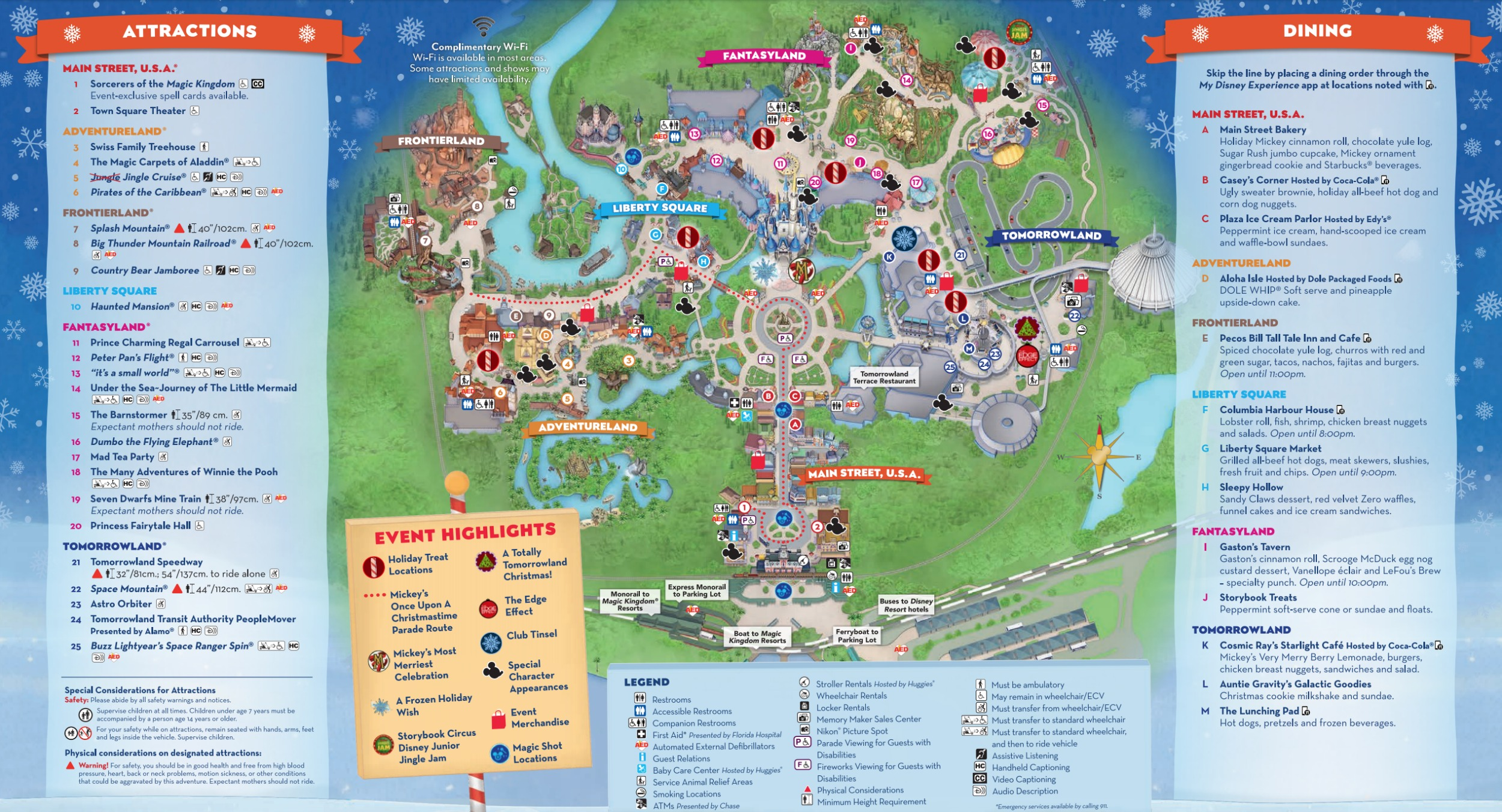 graphic regarding Printable Magic Kingdom Map known as Mickeys Quite Merry Xmas Occasion Map 2018 - Walt Disney International