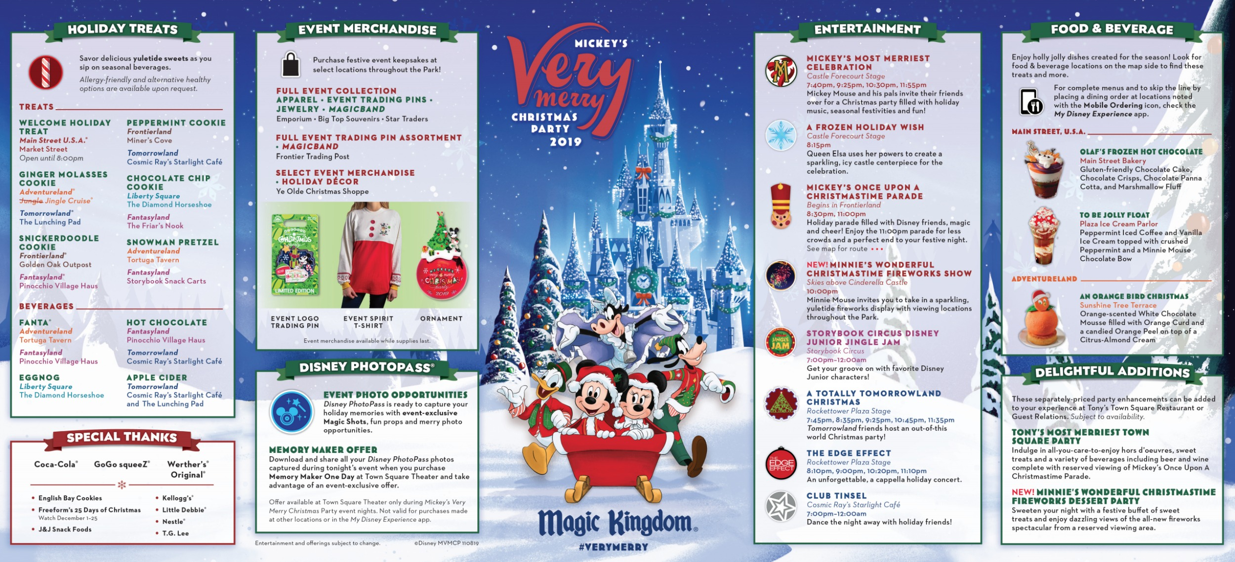 Mickeys Very Merry Christmas Party 2021 Brochure Mickey S Very Merry Christmas Party Map 2019 Walt Disney World