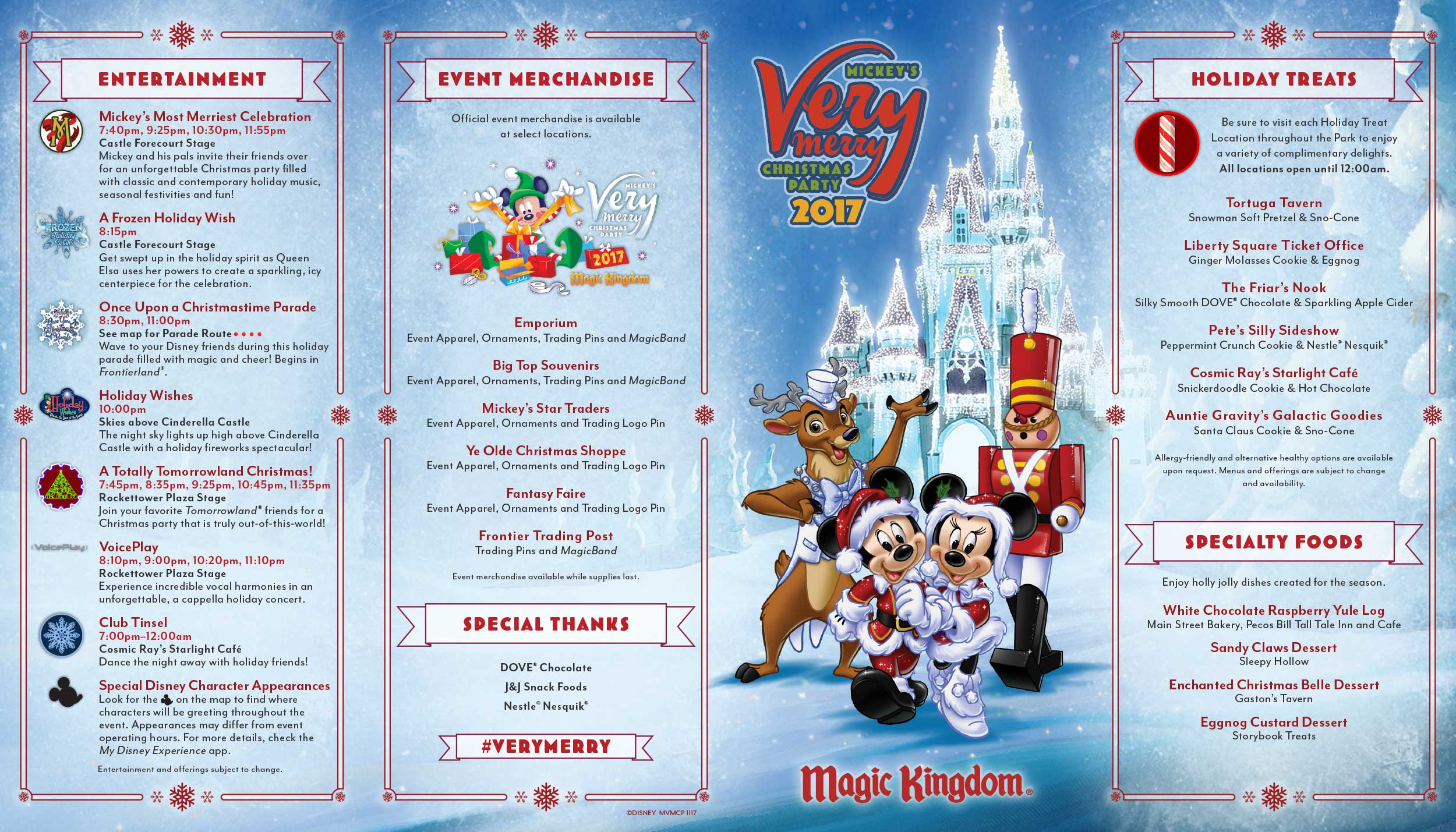 Prty Brochure | Mickey S Very Merry Christmas Party Map 2017 Walt Disney World