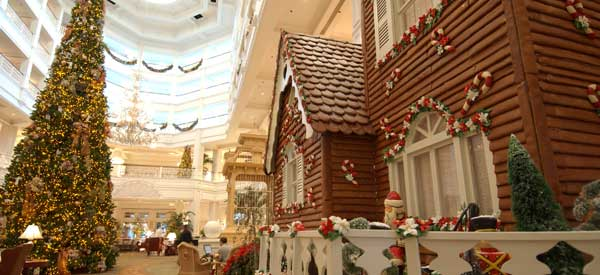 Also in the lobby, the Grand Floridian has a life size gingerbread house. Each year, pastry chefs create the 16-foot-high gingerbread house with 1,050 ...