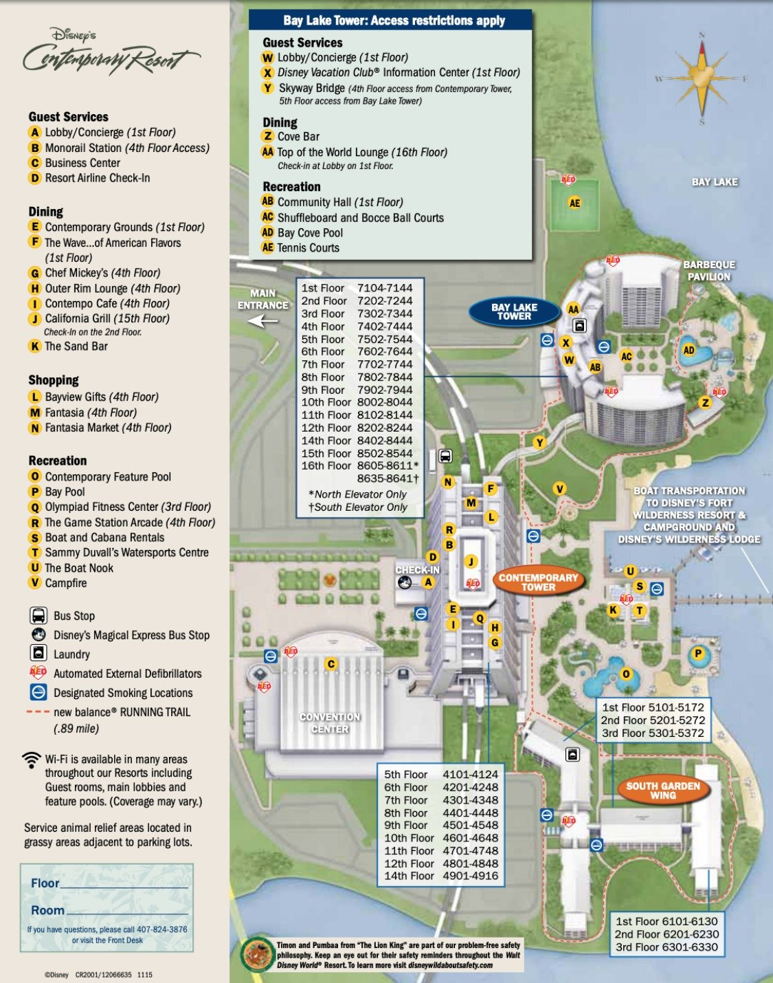 Disney's Contemporary Resort Map - wdwinfo.com on disney rides, disney resorts and grounds, disney events, harry potter grounds map, carnival grounds map,