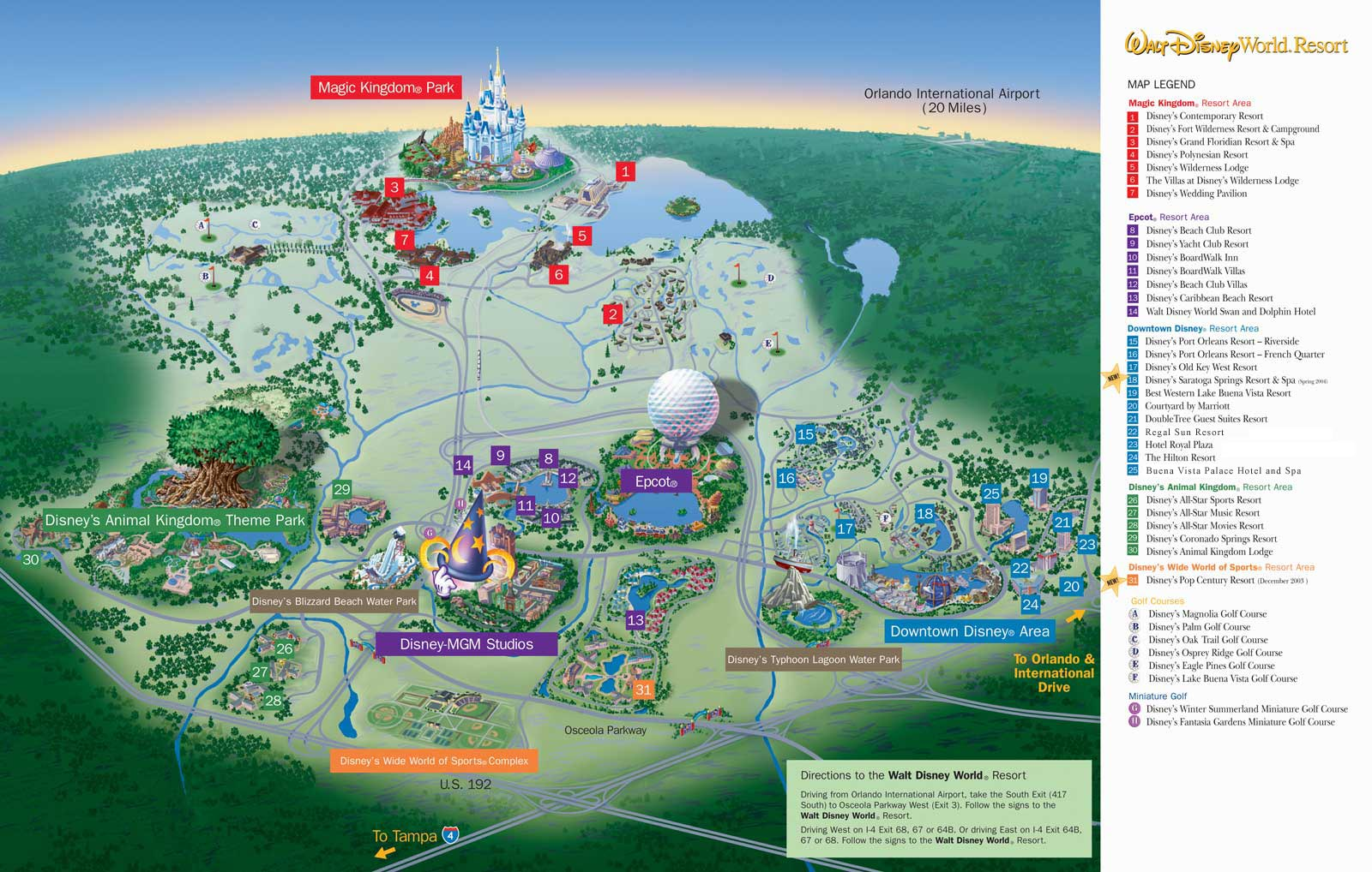 Walt Disney World Resort Map Map of Walt Disney World Resort   wdwinfo.com