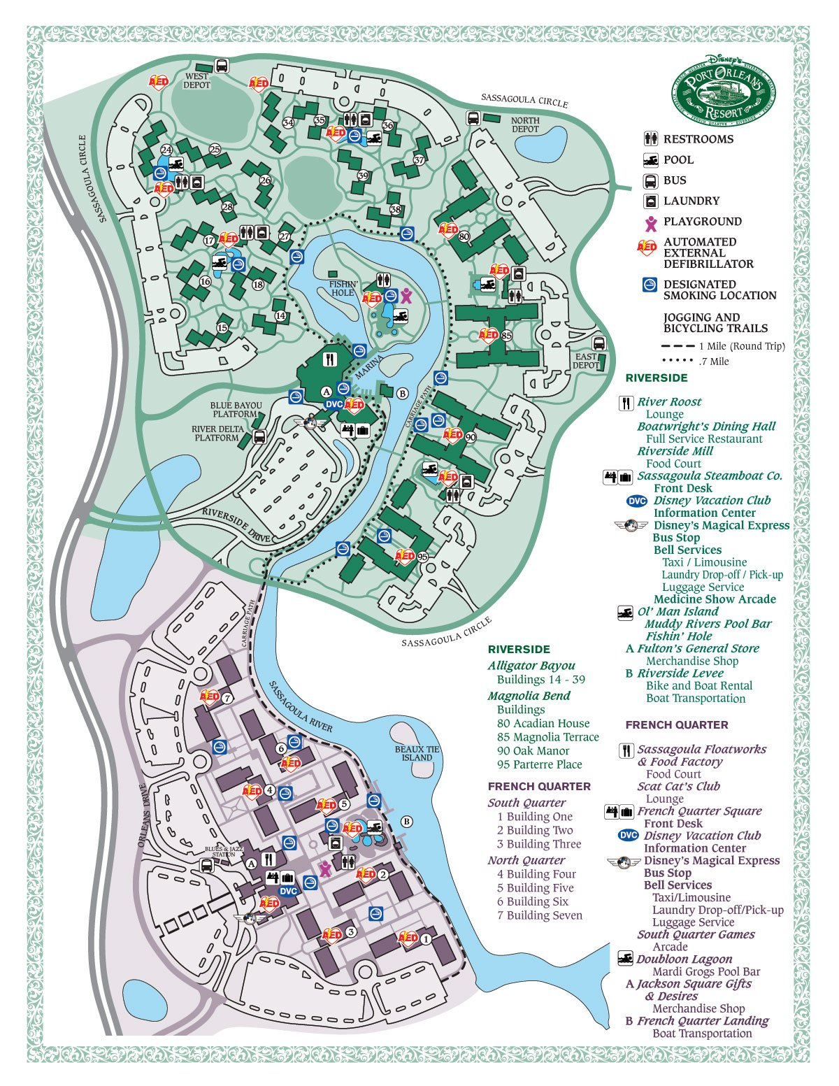 Disneys Port Orleans Riverside Map Wdwinfocom - Map of new orleans rivers