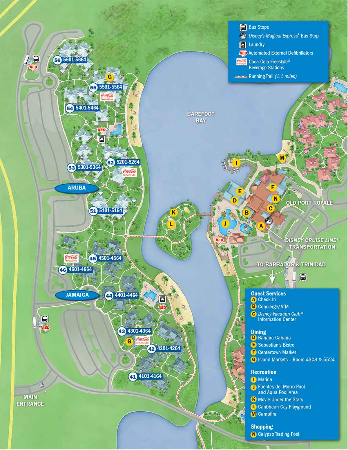 Disney\'s Caribbean Beach Resort Map - wdwinfo.com