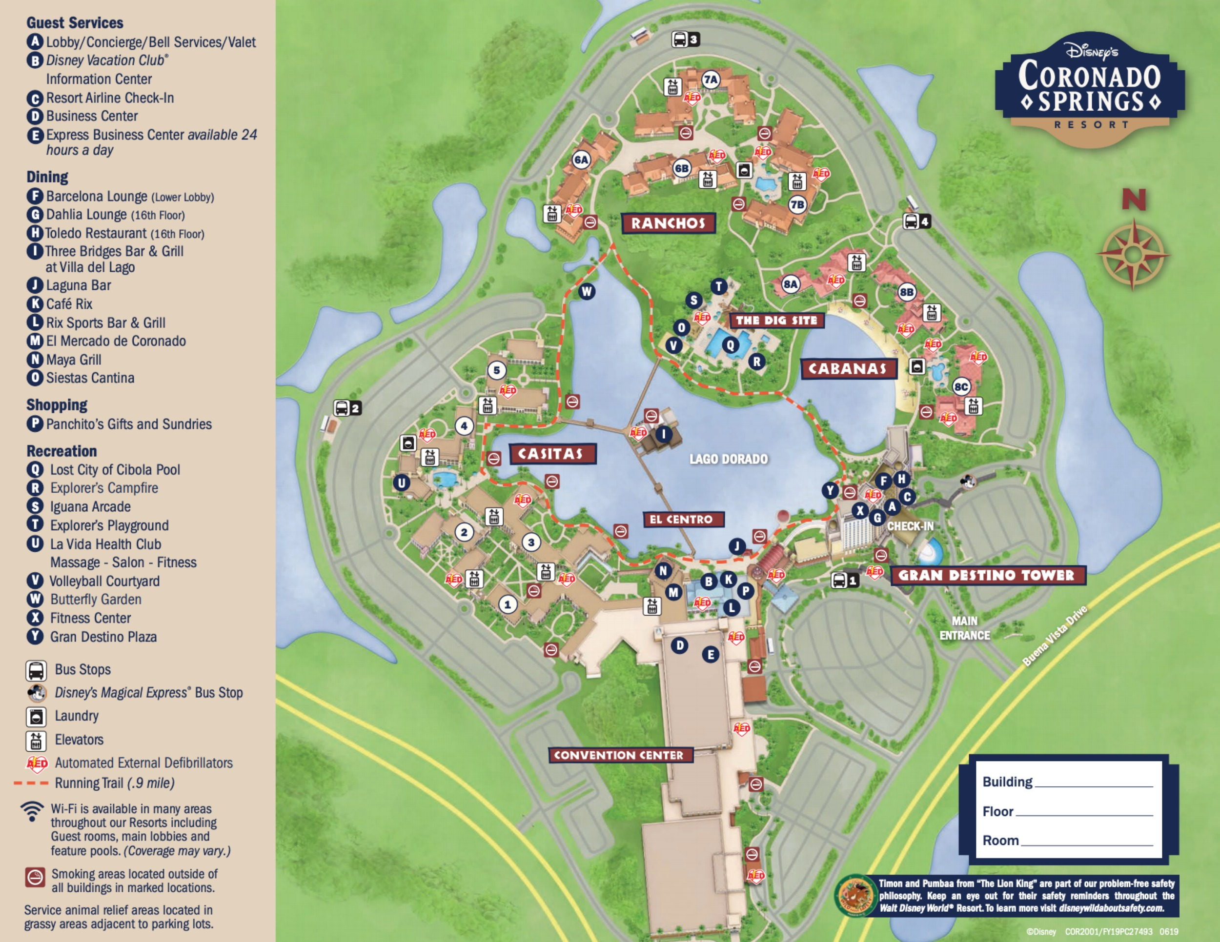 Coronado Springs Map Disney's Coronado Springs Resort Map   wdwinfo.com
