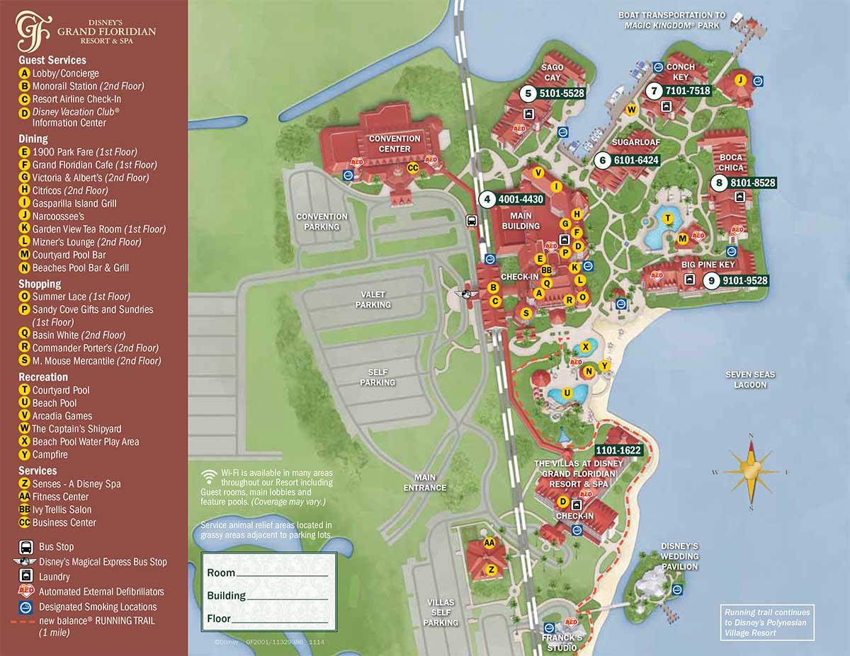 Grand Floridian Map Grand Floridian Resort Map   wdwinfo.com