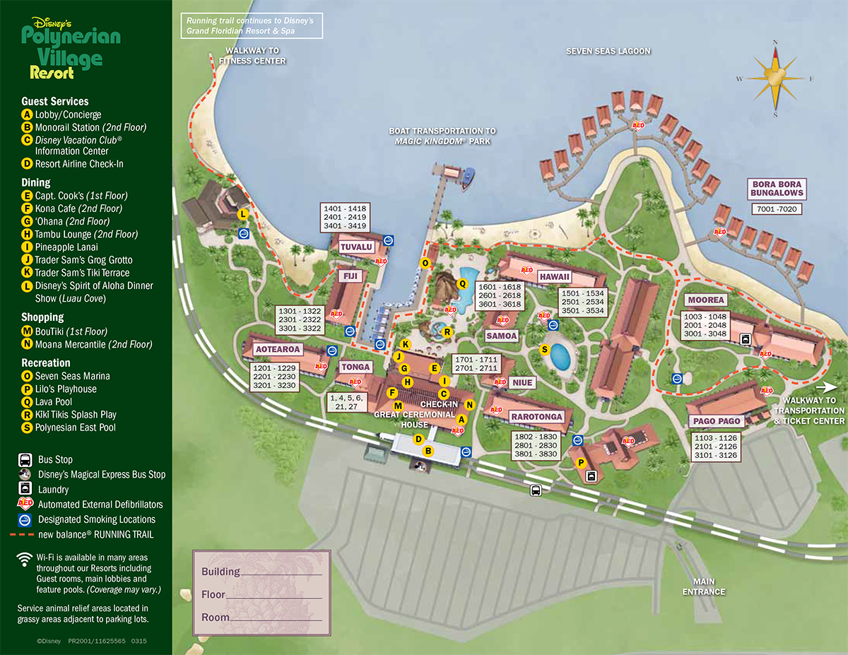 Disney S Polynesian Resort Map Wdwinfo Com
