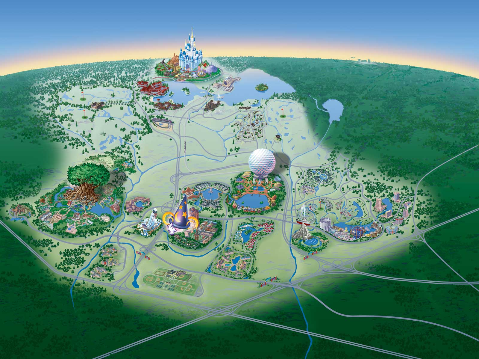 Disney Park Map Map of Walt Disney World Resort   wdwinfo.com
