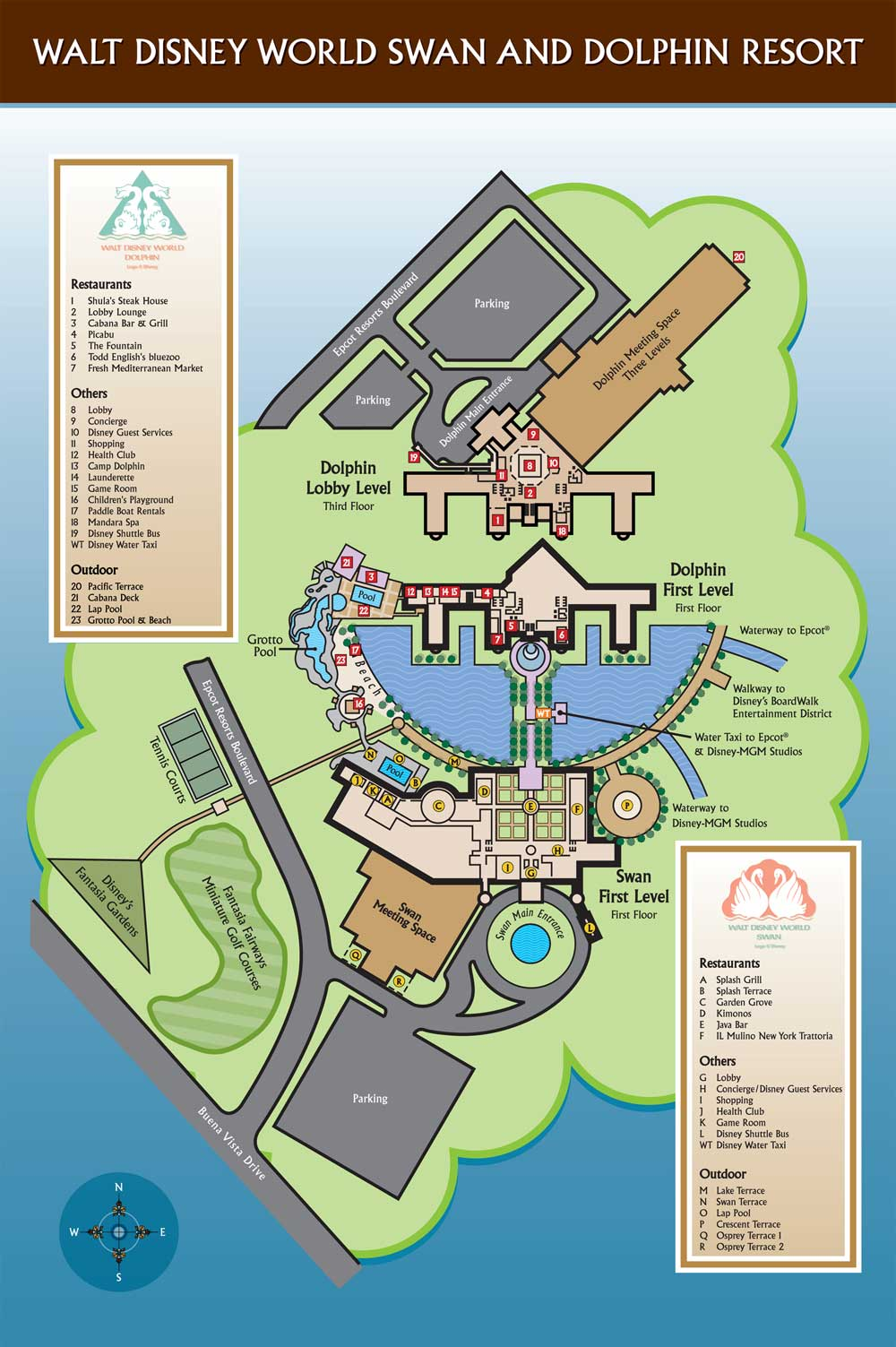 WDW Swan and Dolphin Map - wdwinfo.com