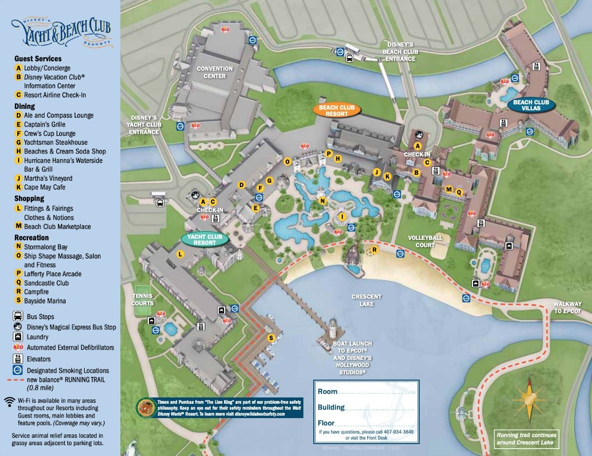 Disney Yacht and Beach Club Resort Map on