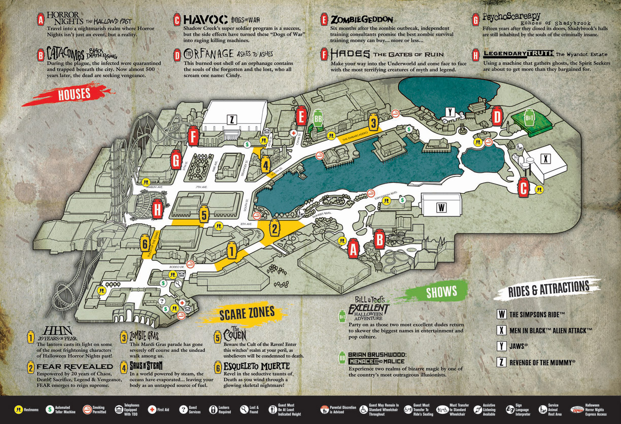 Halloween Horror Nights Map 2010 - Universal Studios Orlando