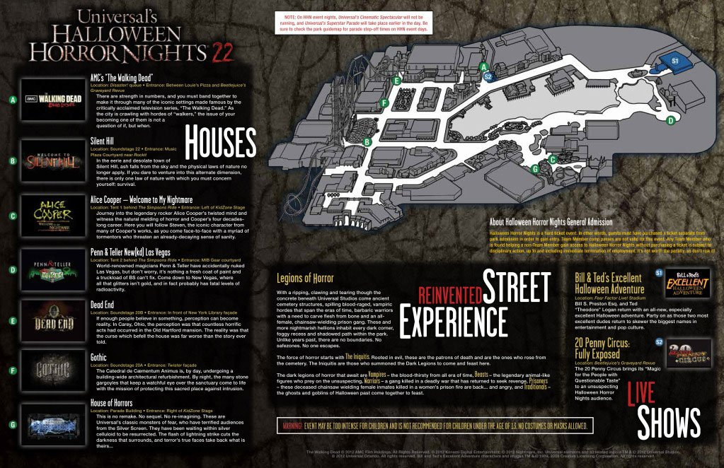 Halloween Horror Nights Map 2012