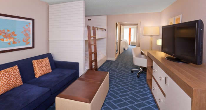 one bedroom family suites feature a separate bedroom set of bunk beds
