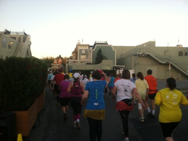Entering The Magic Kingdom via a backstage entrance - one of the perks of running in the parks!