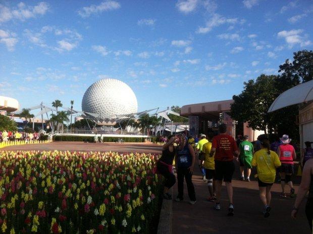 Runners in Epcot nearing the end of the 2013 Walt Disney World half Marathon