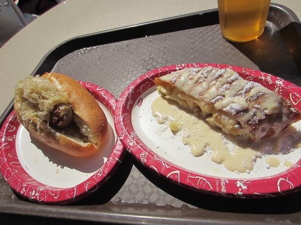 Bratwurst w/sauerkraut and apple strudel.