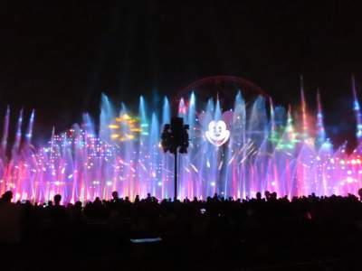 This is a view of World of Color from the Carthay Circle viewing area.