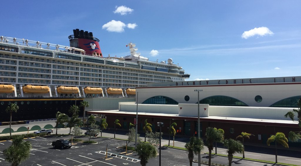 The Disney Fantasy as viewed from the fourth level of the port parking garage.