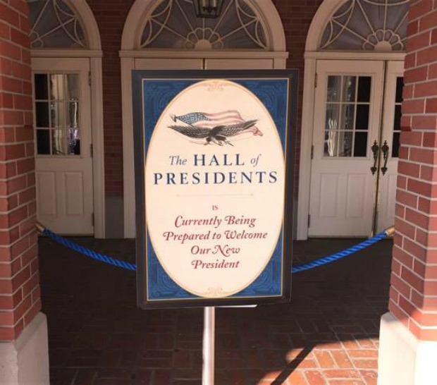 Hall of Presidents refurb sign