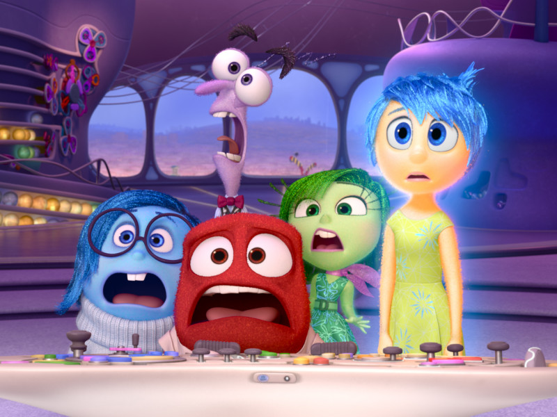 The new animated Disney/Pixar film Inside Out takes us inside the mind of an 11-year-old girl — a mind controlled by five emotions, each voiced by a different actor. From left: Sadness, Anger, Fear (behind Anger), Disgust and Jo