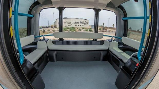 driverless shuttle inside