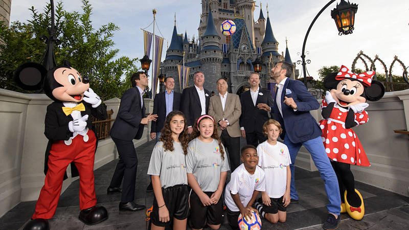 LAKE BUENA VISTA, Fla. (April 20, 2017) – Officials from Disney Sports, LaLiga and IdeaSport LLC, posed with former LaLiga stars along with Mickey and Minnie and several youth soccer players at the Magic Kingdom to launch a world-class soccer training program. The program, sponsored by LaLiga and hosted at ESPN Wide World of Sports Complex near Orlando, Florida, will bring multiple events and exhibitions to the complex each year, including a tournament, on-site events with current and former LaLiga players, summer camps with current and former players and coaches, visits from LaLiga legends and ambassadors, and more events.   (L-R) Former Real Madrid player Raúl González Blanco, Director of IdeaSport Planning & Development Eduardo Frisicaro, Director of Disney Sports Planning Jorge Senior, LaLiga President Javier Tebas, Vice President of Disney Sports Faron Kelley, and former Barcelona player Gianluca Zambrotta. (Todd Anderson, photographer)