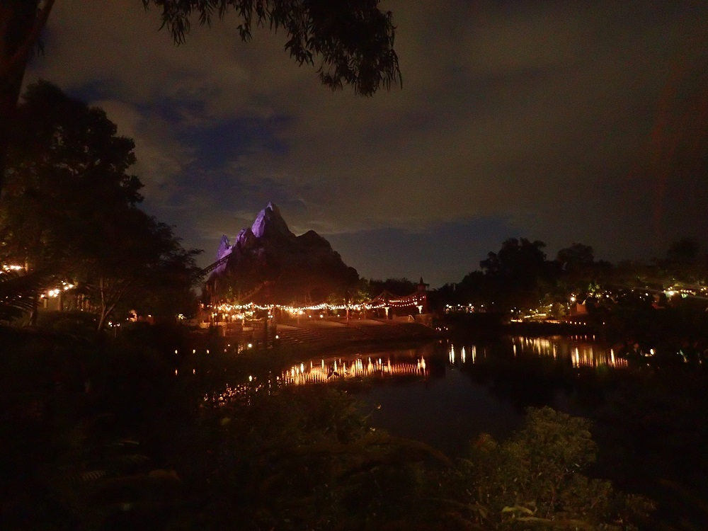 A View of Expedition Everest - Animal Kingdom at night.