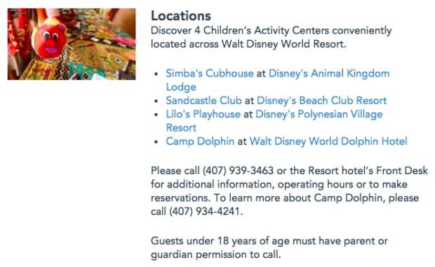 Children's Activity Centers WDW