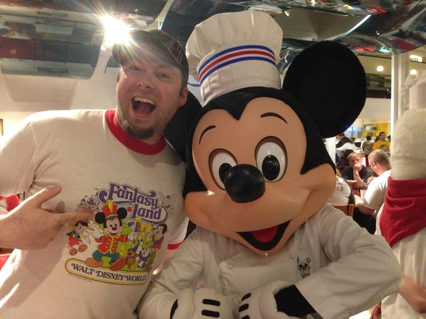 Mike and Mickey, at Chef Mickey's.