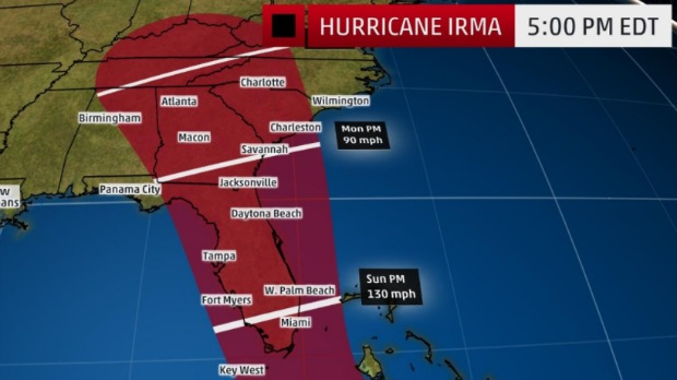 Irma Track Update 5pm Thurs