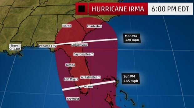Irma Track Update 6pm Wed