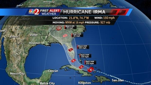 Irma Track Update 8am Fri