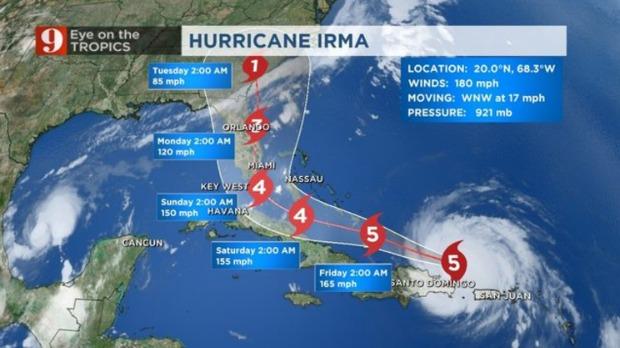 Irma Track Update 8am Thurs