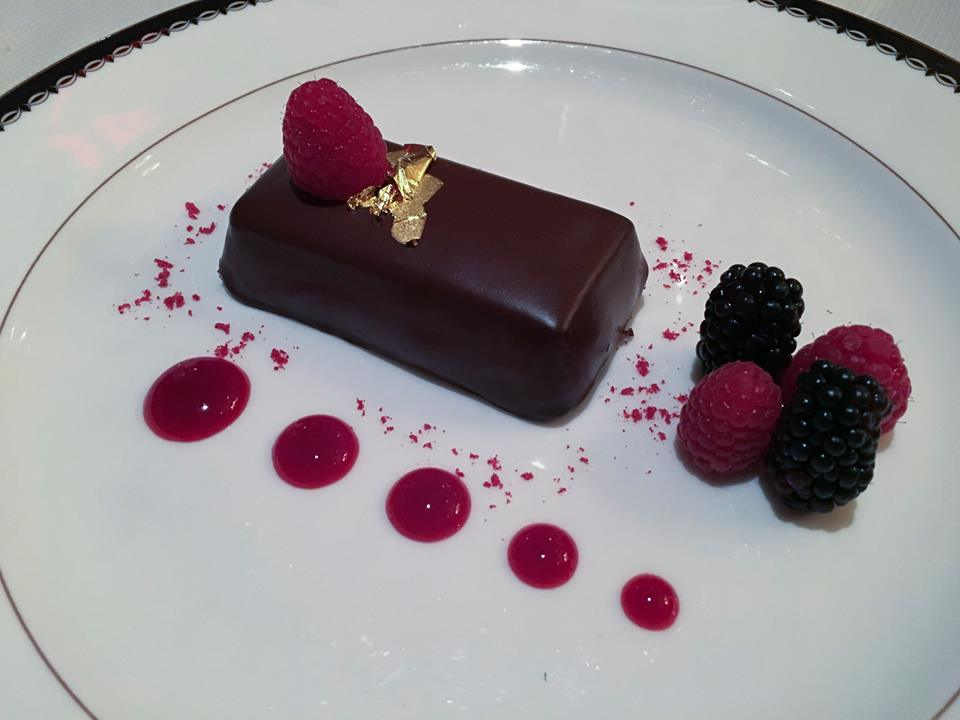 Chocolate Bar with Gold Leaf and Raspberries