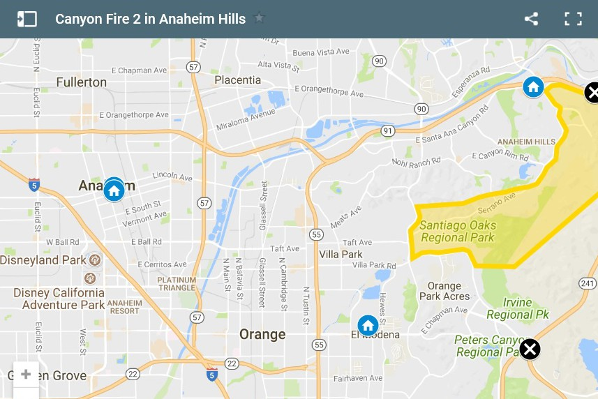 Brush Fire Causing Smoky Skies And Falling Ash At The Disneyland Resort