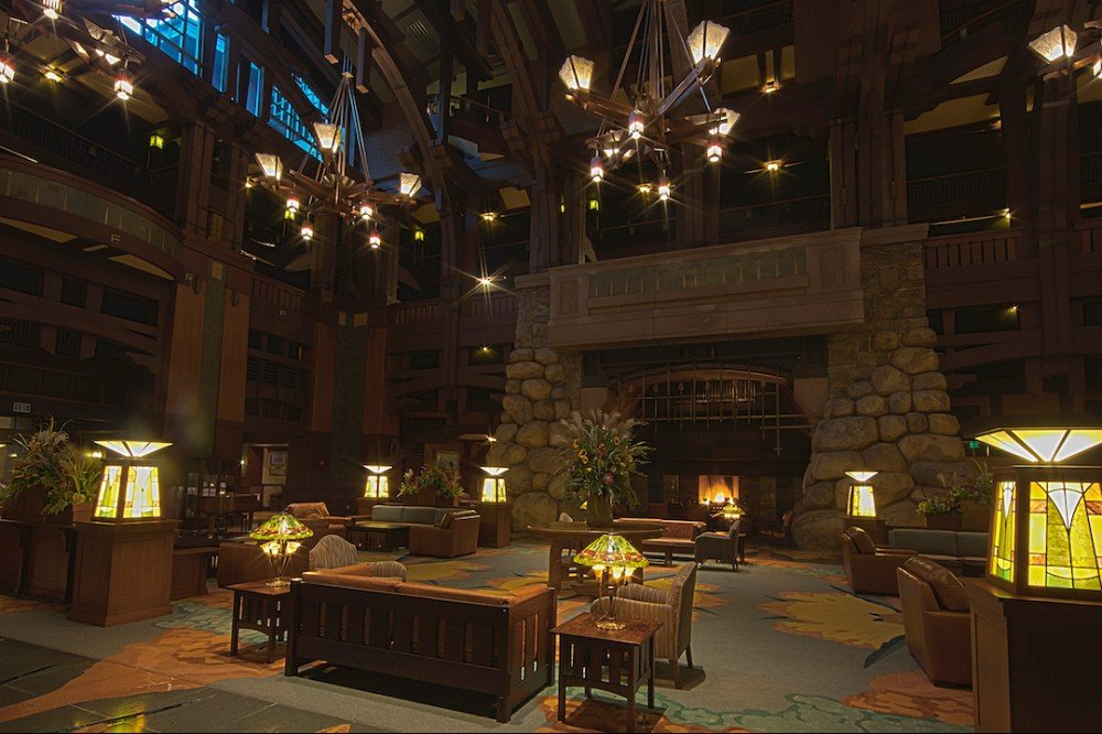 GRAND HALL LOBBY — New magic enhances Disney's Grand Californian Hotel & Spa with completely redesigned guest rooms, a refreshed lobby, pool areas and the concierge-level club. The most extensive refurbishment since the hotel's 2001 opening elevates the guest experience and brings a contemporary approach to the Arts & Crafts design style of this AAA Four Diamond hotel. (Disneyland Resort)