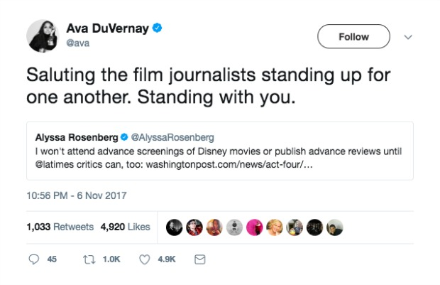Ava DuVernay Quoted Tweet