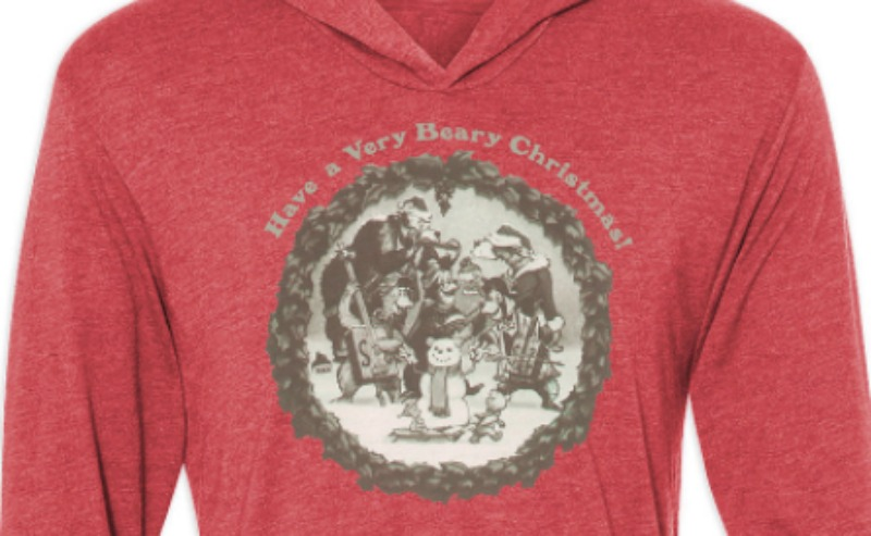 Country Bear Holiday Hoodie CloseUp