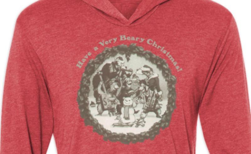 Country Bear Holiday Hoodie CloseUp