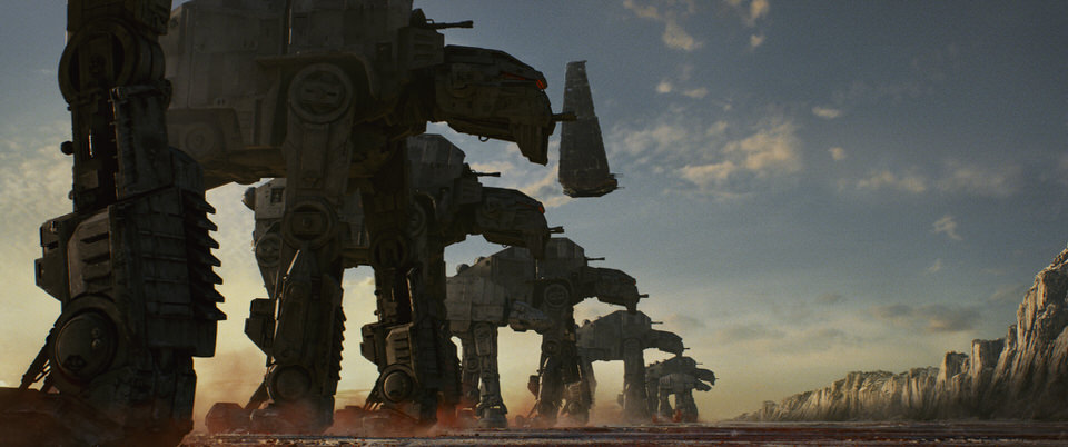 Star Wars: The Last Jedi  AT-M6 Walkers, along with Kylo's Shuttle  Photo: Lucasfilm Ltd.   © 2017 Lucasfilm Ltd. All Rights Reserved.
