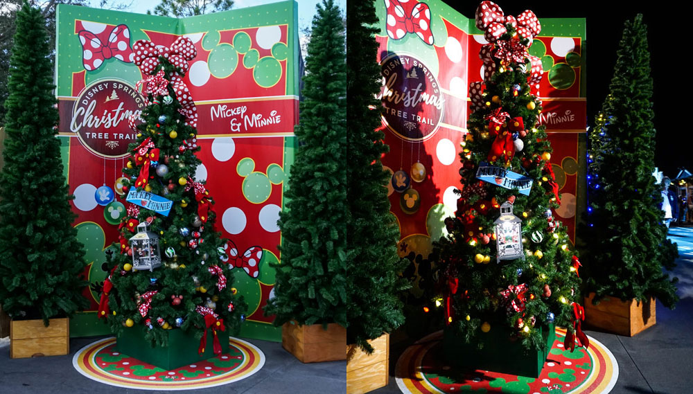 Photo comparison disney springs christmas tree trail day and night mickey minnie from this first example you can already start to see that much of each trees illumination comes from spotlights meant to highlight both solutioingenieria Choice Image