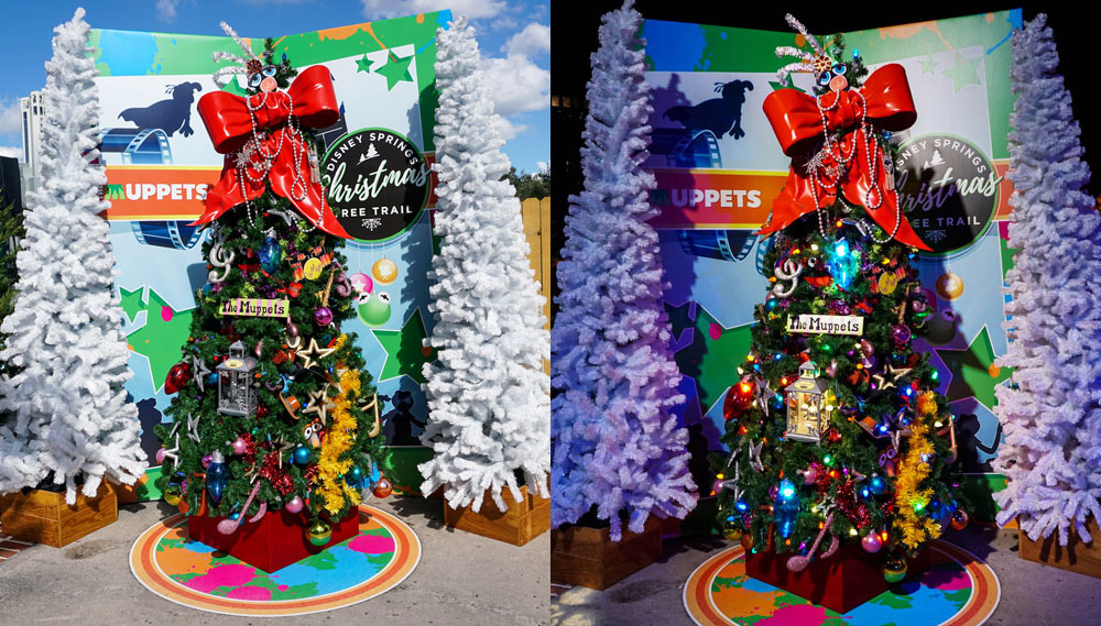muppets with its gigantic bow tree topper and classic mix of character color this tree is a must see once its many colored lights are visible